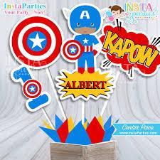 Personalized Superhero Birthday Invitations Captain America Centerpieces Superhero Centerpiece Superheroes
