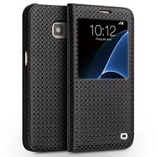 qialino smart view window cowhide leather case for samsung galaxy s7 edge g935 black grid
