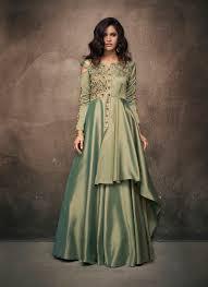 Satin Silk Dress Designs Green Satin Silk Readymade Designer Gown
