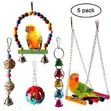 QUMY 5pcs Bird Parrot Toys Hanging Bell Pet Bird ... - Amazon.com