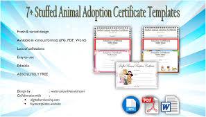 Pet Adoption Certificate Template 7 Stuffed Animal Adoption Certificate Editable Templates
