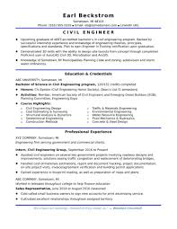 Template Sample Resume For An Entry Level Civil Engineer Monster Com
