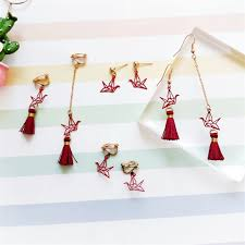 Japanese and <b>Korean sweet</b> wine red origami crane <b>earrings</b> Long ...