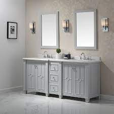 Ove Decors Positano 75 In Dove Gray Double Sink Bathroom Vanity With Yves Natural Marble Top In The Bathroom Vanities With Tops Department At Lowes Com