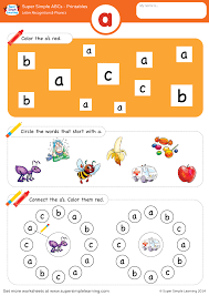 Make spaghetti string worksheet with phonics: Letter Recognition Phonics Worksheet A Lowercase Super Simple