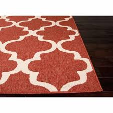 rugs indoor outdoor pattern red ivory white polypropylene 4x5 area rug canada
