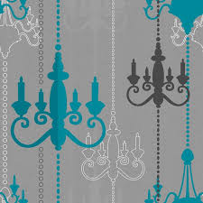 large image of wilko chandelier wallpaper teal grey wp332112