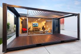 shipping containers office. ME:OU Shipping Container Office - Front View Industrial-home-office Containers I
