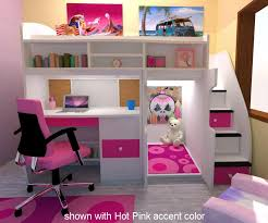 attractive bunk beds for girls with stairs twin loft with central play area and desk bedroom furniture