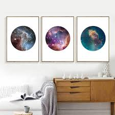 set of three wall art modern astronomy galaxy canvas art print and poster home wall decor set of three wall art