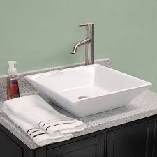 fontaine shallow square porcelain bathroom vessel sink