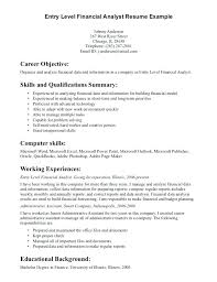Entry Level Finance Resume Objective Data Analyst Resume Template