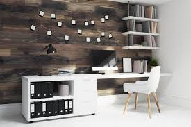 ultimate home office. Dark Wooden Wall Home Office With A Floor, Desktop And White Chair Ultimate C
