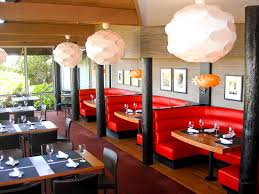 Bold Red Sofa For Simple Restaurant Interior Ideas With White Lantern Ideas
