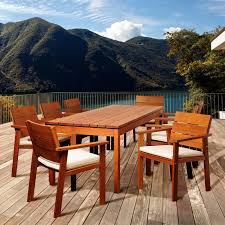 Outdoor amazonia deerfield eucalyptus 9 piece rectangular patio dining set