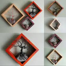 customizable set of 3 geometric framed hanging wire trees jewelry display geometric diamond with tree sculpture wire tree driftwood art on wire tree sculpture wall art with customizable set of 3 geometric framed hanging wire trees jewelry