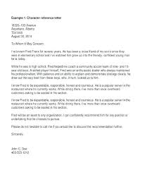 Character Reference Letter Format Sample Letters Examples