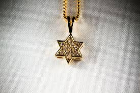 picture of gold filled chain with gold filled zirconium studded jewish star of