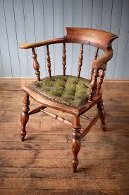 antique vintage wooden captains chair office desk chair leather on seat vinterior
