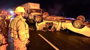 2 tractor trailers and overturned pickup truck involved in crash on ...