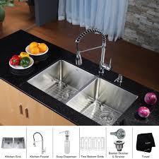 kraus 33 inch undermount 50 50 double bowl 16 gauge stainless steel kitchen sink with