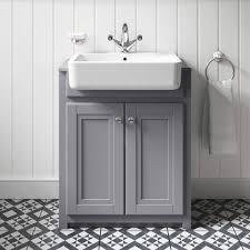 butler rose catherine vanity unit with belfast sink matt grey