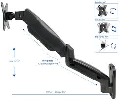 vivo black gas spring extended arm full motion articulating monitor wall mount for 17 to