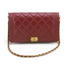 CHANEL Red Leather Quilted Wallet on Chain WOC Boy Bag Gold ... & CHANEL Red Leather Quilted Wallet on Chain WOC Boy Bag Gold Adamdwight.com