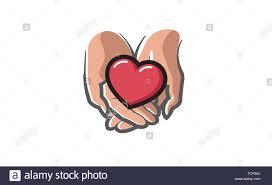 Amor dando amor corazón manos sosteniendo el símbolo de diseño de logotipo  ilustración Imagen Vector de stock - Alamy