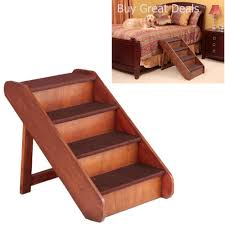 details about folding extra large wood dog stairs pet durable ladder ramp bed steps 25 tall