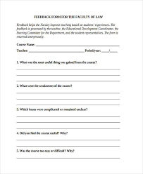 teacher feedback form sample faculty feedback forms 8 free documents in word pdf