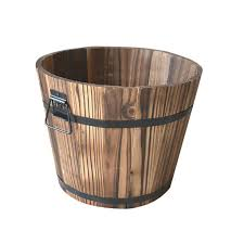 small wooden barrel pot planter outdoor garden plant flower rustic decor 1 1 of 11free