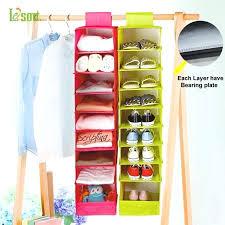 hanging shelves closet fabric wardrobe hanger storage bag clothing underwear closet hanging storage with 9 shelf