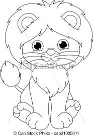 Small Picture Vector Clip Art of lion coloring page Cute little lion cub