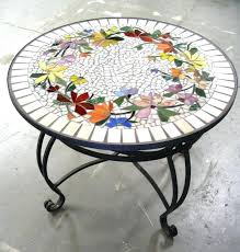 Tile Tables Mosaic Round Table Top Designs Patterns Replace Glass With Tabletop Diy