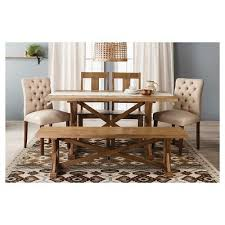 harvester 62 quot dining bench rustic brown beekman 1802 farmhouse amazoncom furniture 62quot industrial wood