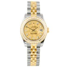 pre owned unused rolex watches at berry s jewellers datejust steel yellow gold diamond bezel champagne crystals diamond dial ladies bracelet watch · rolex pre owned