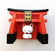 handmade painted fushimi inari shrine white fox 3d resin fridge magnets tourism souvenirs refrigerator magnetic stickers gift customizable magnets customize