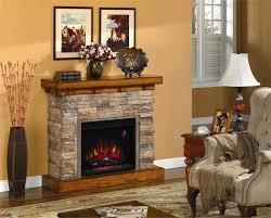 phenomenal stacked stone electric fireplace with laminate flooring and carpet white shade table lamp tile backsplash