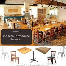 industrial restaurant furniture. Modern Farmhouse Restaurant - Rustic Wood Paired With Industrial Metal Furniture