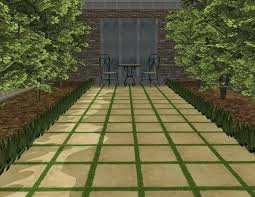concrete pavers with grass in between