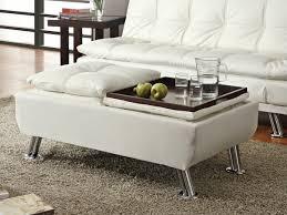 white leather storage ottoman. White Leather Like Vinyl Storage Ottoman With Flip Top Trays And Chrome Finish Legs To