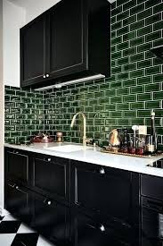 dark green tile backsplash do a deep dark and delicious kitchen black glossy cabinets with dark green tile and white counter dark green subway tile