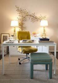 painted office furniture. Interior, Feminine Office Furniture White Painted Wooden Book Racks Single Chair Brown Tone Green Vintage