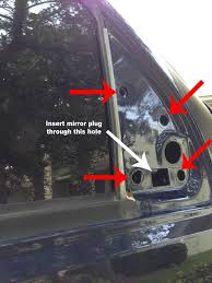 1a auto parts 08 style tow mirrors review and installation pic loosely secure the mirror to the door using the four 11mm nuts and locate the new mirror wiring connector inside the door route the connector and the