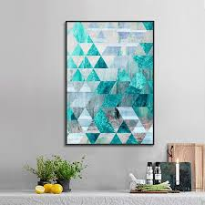 $1.9 <b>Nordic Poster Geometric Abstract</b> Turquoise Decorative ...