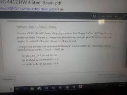 I Beam Chart Pdf Solved Ng 4412 Hw 4 Steel Beam Pdf Nload Ceng 4412 Hw 4 S