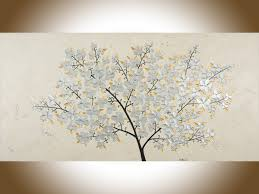silver blossoms by qiqigallery 48 x 24 original oil painting silver flowers painting copper art large