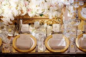 wedding reception table settings. Mirror Wedding Reception Table With Gold Rim Charger Plates, Baroque Box White Flowers Settings B