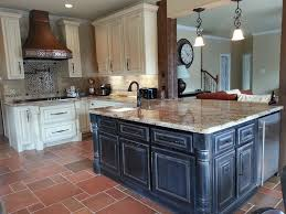 image of chalk paint kitchen cabinets and island